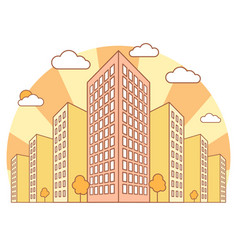 city view in autumn with high buildings clouds vector image