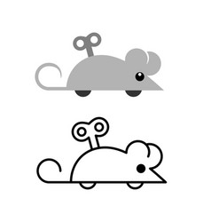clockwork mouse toy icon mechanical mice side vector image