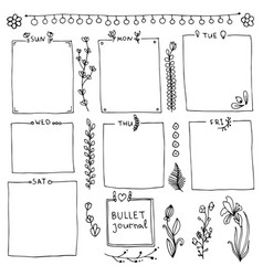 collection design elements for bullet journal vector image