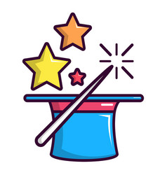 Colorful magic hat and wand icon cartoon style vector