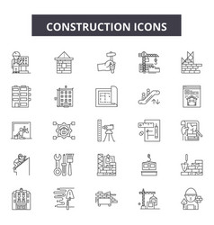 construction line icons signs set vector image