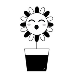 Contour kawaii beauty and funny flower plant vector