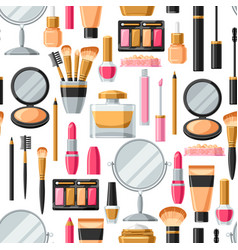 Cosmetics for skincare and makeup seamless vector