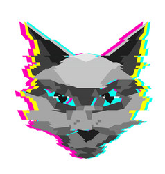 Creative low poly cat with glitch vector