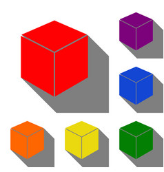 cube sign set of red orange yellow vector image
