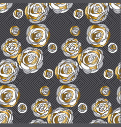 decorative rose flowers seamless pattern vector image