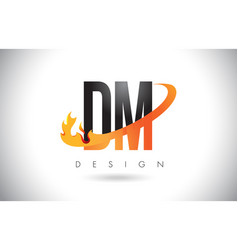 Dm d m letter logo with fire flames design and vector