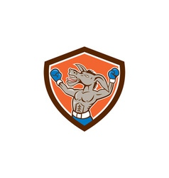 Donkey Boxing Celebrate Shield Cartoon vector image