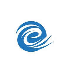 e letter water wave logo template vector image