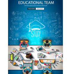 Educational infograph brochure template with hand vector