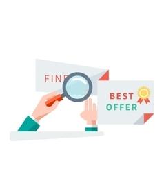 Find Best Offer Design Flat Concept vector