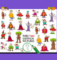 Find two identical characters game for kids vector