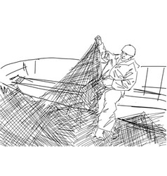 Fisherman stands on the deck and holds the fishnet vector