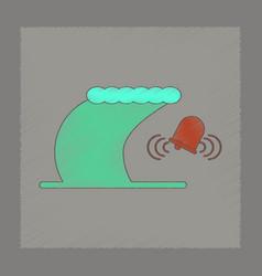 Flat shading style icon tsunami alarming bell vector
