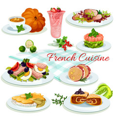 French cuisine popular dishes poster design vector