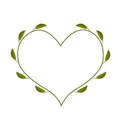 Fresh Green Leaves in A Heart Shape Frame vector image