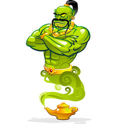 Genie man character from a magic lamp vector