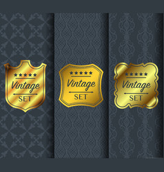 golden vintage pattern on dark background vector image