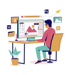 graphic designer creating his artwork flat vector image