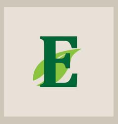 green eco letter logo template design vector image