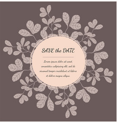 greeting card template with floral elements vector image vector image