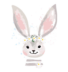 greeting card with a portrait a cute rabbit vector image