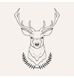 hand drawn deer and laurel vector image