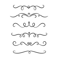 Hand drawn symmetrical flourishes swirls text vector