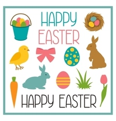 Happy Easter set of decorative objects Can be vector image
