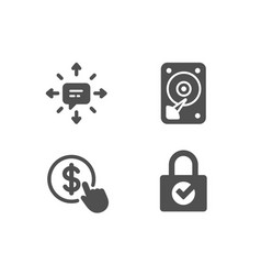 Hdd sms and buy currency icons password vector