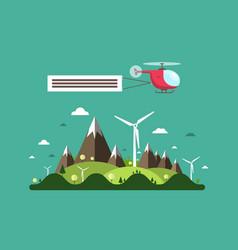 helicopter over island flat design landscape vector image