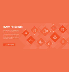 Human resources banner 10 icons conceptjob vector