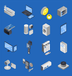 Iot internet things isometric icon set vector
