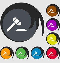 Judge or auction hammer icon sign Symbols on eight vector
