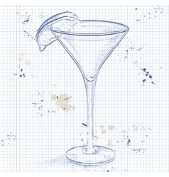 Kamikaze alcohol cocktail on a notebook page vector image