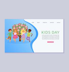 kids day inscription on web banner children on vector image