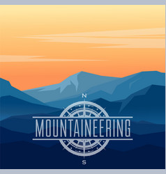 Landscape with silhouettes blue mountains vector