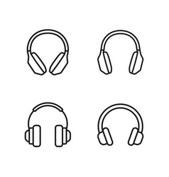 Line headphones icons set on white background vector