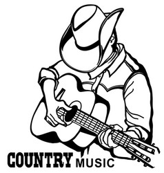 Man in american cowboy hat playing acoustic vector