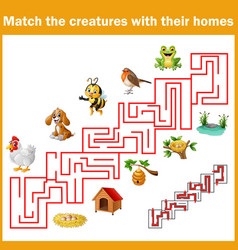 match creatures with their homes vector image