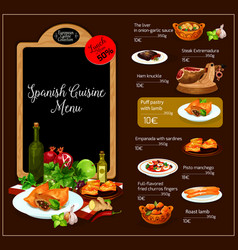 menu of spanish cuisine restaurant vector image