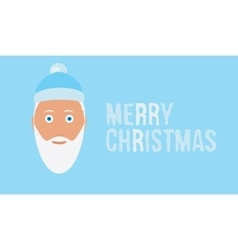 Merry christmas wish on ice blue background card vector image