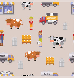 Milk dairy farm to table vector