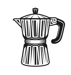 Moka pot traditional electric coffee maker vector