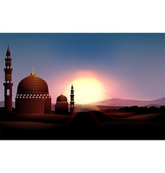 Mosque on the field at sunset vector image