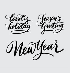 new year and lovely holiday handwriting calligraph vector image