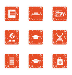 Online research icons set grunge style vector