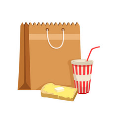 paper bag with soda drink and sandwich vector image
