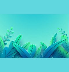 paper spring leaves border background vector image