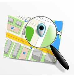 pointer on the map and magnifying glass vector image